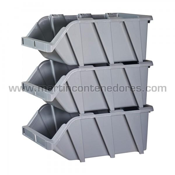 Gaveta plástica encajable color gris nuevo