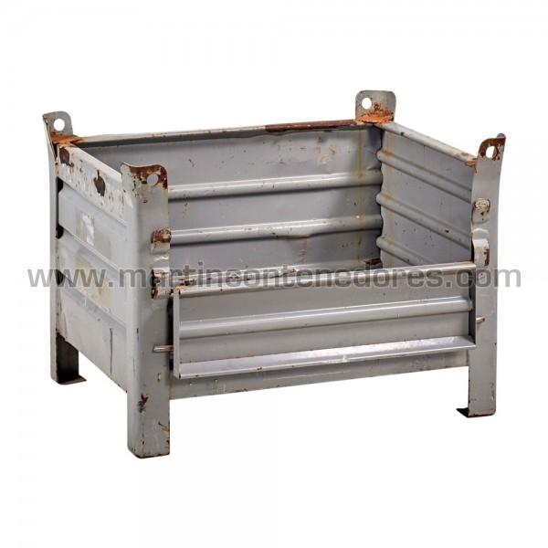 Contenedores metálicos robustos gris