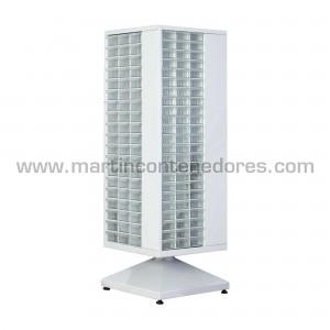 Estanteria giratoria metalica blanca con 246 cajas de plástico