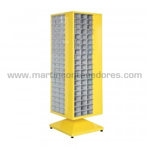 Armario metálico giratorio con 240 cajas plásticas