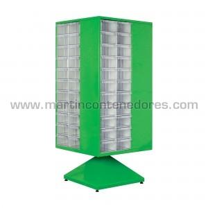 Estante giratorio metalico con 88 cajas de plástico transparentes