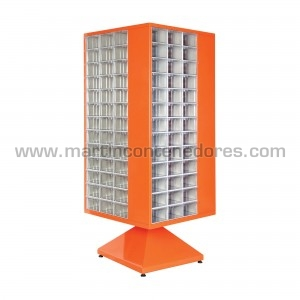Nuevo estante giratorio de metal con 156 cajas de plástico