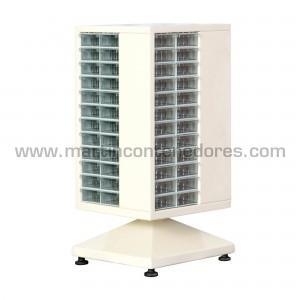 Estante blanco giratorio de metal con 96 gavetas transparentes