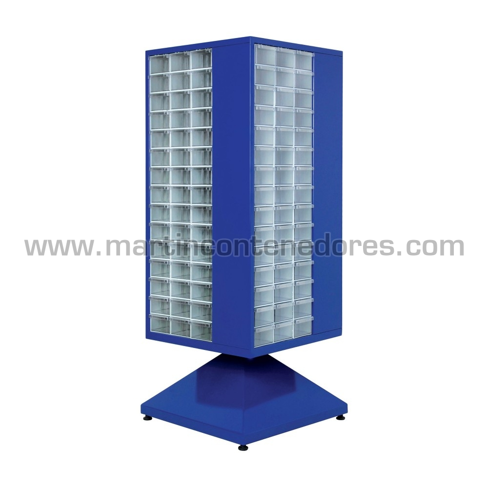 Estante giratorio de metal con 180 cajas de plástico