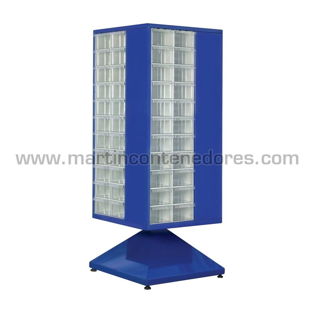 Armario giratorio de metal con 88 cajas plásticas transparentes
