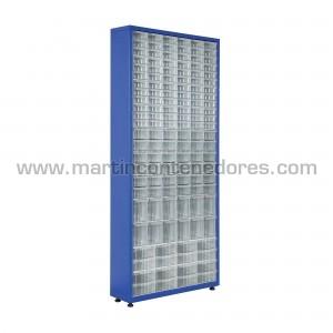 Metal rack with 136 plastic...