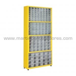 Metal rack with 141 plastic...