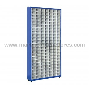 Metal rack with 154 plastic...