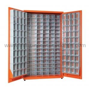 Metal rack with 176 plastic...