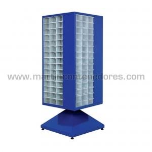 Estante de metal giratorio con 180 cajas de plástico
