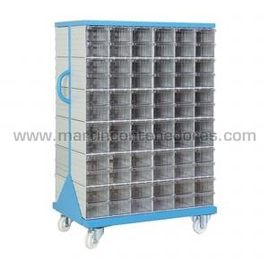 Rack metálico con 144 cajas...