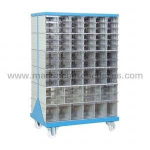 Rack metálico con 148 cajas...
