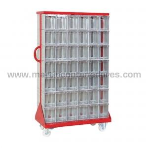 Rack metálico con 84 cajas...