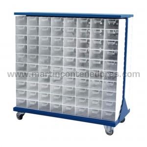 Rack metálico con 188 cajas...