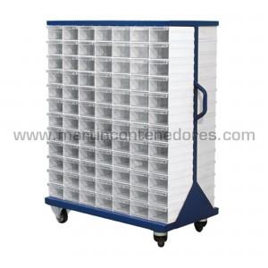 Rack metálico con 204 cajas...