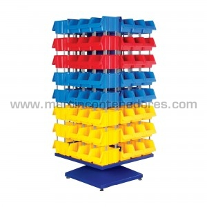 Rayonnage métallique avec 96 bacs de rangement