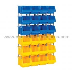 Kit combiné rayonnage avec 24 bacs de rangement plastique