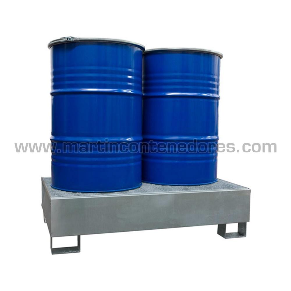 Bac de rétention galvanisé avec grillage pour 2 fûts
