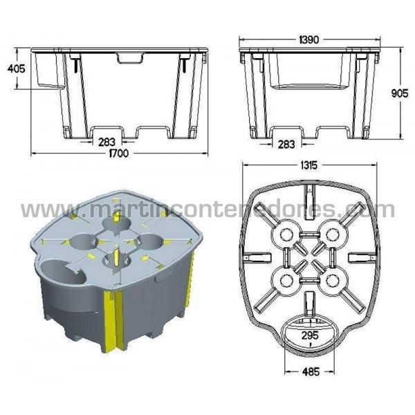 Cubeto de retención Capacidad de retención 1.050 litros