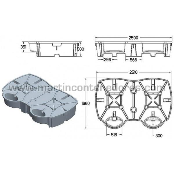 Cubeto de retención fabricado en polietileno PE