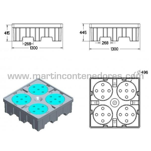 Cubeta anti-derrame fabricada en polietileno de alta nueva