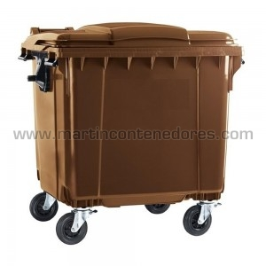 Contenedor basurero 1100 litros marron