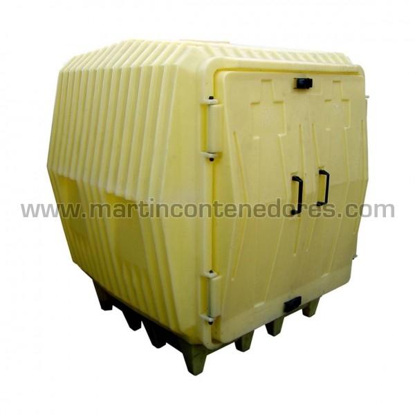 Cubeto de retención cubierto para 4 bidones de 220 litros y almacenaje exterior