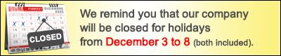 closed holidays december 2020