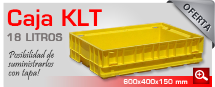 Oferta de cajas KLT 18 litros con la posibilidad de suministrarlas con tapa